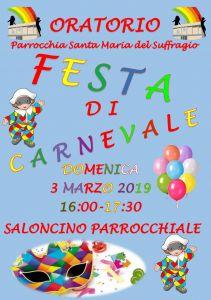 Locandina festa di carnevale 2019
